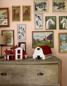 Love the picture / paintings collection with the antique barn buildings. Fun