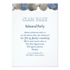 Shop Clam Bake Rehearsal Party Invitation created by sandpiperWedding. Personalize it with photos & text or purchase as is! Wedding Rehearsal Invitations, Party Invitations, Invite, Yosemite Wedding, Create Your Own Invitations, Clams, Rehearsal Dinners, Wedding Hacks, Wedding Ideas