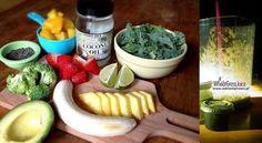 Zielone koktajle: jarmuż + trawa pszeniczna + brokuł + mango + ananas + truskawki + banan + awokado + limonka + olej kokosowy