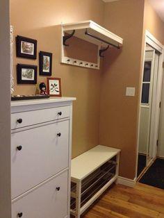 Back Entrance in narrow hallway - IKEA bench, coat rack and shoe storage unit