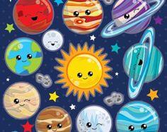 Solar system kawaii clipart  space clipart  17007