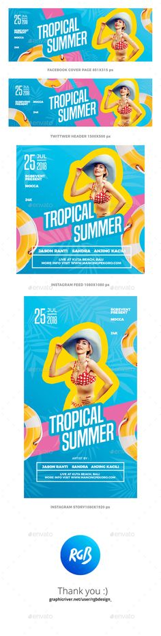 Tropical Summer Social Media - Social Media Web Elements