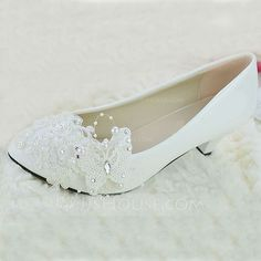 Women's Leatherette Stiletto Heel Closed Toe Pumps With Imitation Pearl Flower (047094910) - JJsHouse