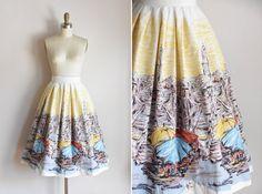50s Time Travel skirt/ vintage 1950s novelty skirt/ Mode O'Day novelty cotton…