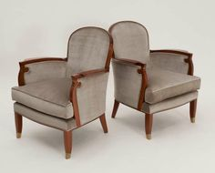 Pair of Mahogany Art Deco Armchairs by Jules Leleu | From a unique collection of antique and modern armchairs at http://www.1stdibs.com/furniture/seating/armchairs/