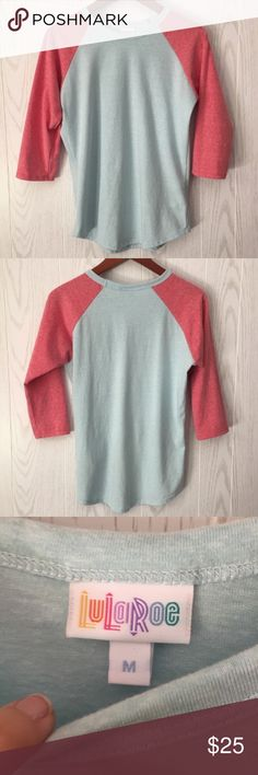 "LuLaRoe Cotton Blend Randy Medium Light blue heather body and pink/peach heather arms. Super soft and comfy! Great condition! Not as oversized as other LuLaRoe tops—true to size in my opinion. 18"" bust and 24-25"" length. LuLaRoe Tops Tees - Long Sleeve"