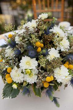 JP wedding photography. craspedia, white dahlias, seeded eucalyptus and blue thistle