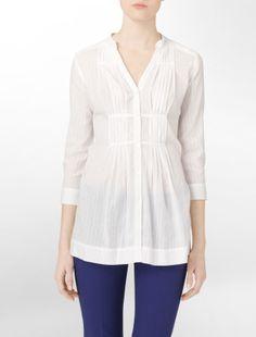 sheer shadow stripe roll-up pleated shirt - Long Sleeve + 3/4 Sleeve- Calvin Klein