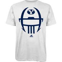 34bbe7e2ef8 BYU Cougars Adidas Helmet T-Shirt (White) Team Apparel