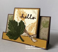 Stampin' Up! Halloween Cards, Fall Halloween, Fall Cards, Holiday Cards, Center Step Cards, Side Step Card, Leaf Cards, Card Making Techniques, Thanksgiving Cards