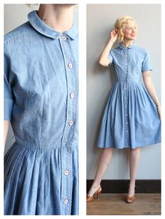 1950s Dress // Chambray Villager Dress // by dethrosevintage