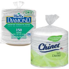 """Chinet 103/8"""" Dinner Plates 165 ct AND/OR Hefty Diamond 105/8"""" Plates 150 ct Costco Coupons, Dinner Plates, Warehouse, Diamond, Diamonds, Magazine, Barn, Storage, Container Homes"""