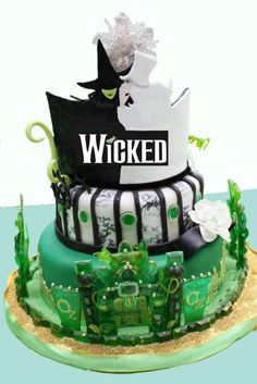 Wicked the Musical cake. Because Wicked the Book cake would just be a blood-stained pile of isolation and indifference. Pretty Cakes, Beautiful Cakes, Amazing Cakes, Cupcakes, Cupcake Cakes, Shoe Cakes, Crazy Cakes, Fancy Cakes, Pink Cakes
