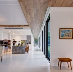 The space was treated from its genesis, with the same respect for design as a museum. Carving of ceiling, walls and floor not only creates sculptural partitions throughout the residence, but with the spirit of a rock pool, provides channels to flow through and delineates ample space in which to dwell together.