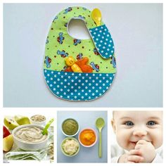 Organic cotton baby mealtime bib. it has Super Handy spoon and napkin pockets.Visit www.Etsy.com/shop/ Jollybundles