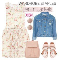 """Wardrobe Staple: Denim Jackets"" by vict0ria ❤ liked on Polyvore featuring RED Valentino, Topshop, Miu Miu, GALA, New Look, MANGO, denimjackets and WardrobeStaples"