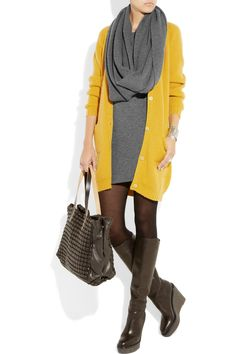 Cashmere dress layered with Donna Karen scarf, cardigan . YVS boots and Marni bag