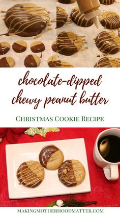 Chocolate-Dipped Chewy Peanut Butter Christmas Cookie Recipe: Top them with sea salt, crumbled peanut butter cups, or a drizzle of peanut butter. These cookies are perfect for a Christmas cookie exchange party too. Click to read my exact recipe and my secret to digestive health relief during the holidays #ad #getrelieffromthefeast #walmart ooh.li/b7240d4 makingmotherhoodmatter.com