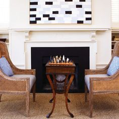 Want a more sophisticated recreation room? Add a chess table and a couple comfy chairs. If it's in front of a fireplace, that's a bonus. Living Room Setup, Living Room Remodel, Living Room Chairs, Living Rooms, Modern Game Tables, Game Table And Chairs, Chess Table, Dining Table, Dining Chairs