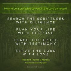 "Print and send:  ""How to be a profitable servan tin the Lord's vineyard"" for the LDS Missionary"