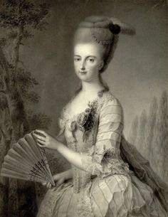 Portrait de Marie-Christine d'Autriche avec un éventail, 1776 Johann August Walther