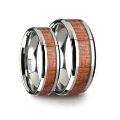 Matching Ring Set Tungsten Band with Polished Bevels and Exotic Mahogany Hard Wood Inlay - 6 mm & 10 mm