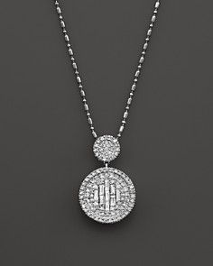 Diamond and Baguette Pendant Necklace in 14K White Gold, .75 ct. t.w.