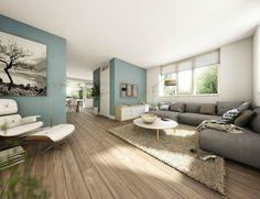 Frisse woonkamer met prachtige kleur: Early Dew van Flexa | Colours ...