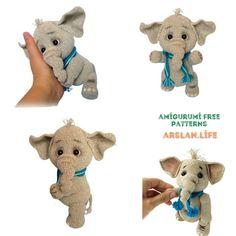 Cute Elephant, Free Crochet, Free Pattern, Crochet Patterns, Teddy Bear, Toys, Animals, Life, Amigurumi