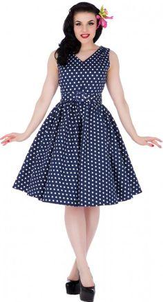 The Wendy Polka Dot Dress in Navy Blue is breathtaking in it's simplicity.