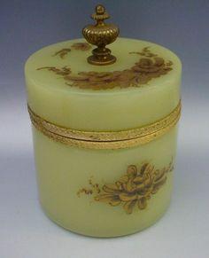 Antique Green Opaline Powder Box