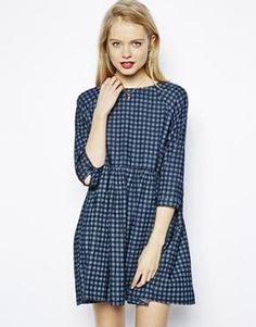 Asos Denim Check Smock Dress in Blue Cotton Dresses, Blue Dresses, Girls Dresses, Smocked Dresses, Spring Summer Fashion, Autumn Fashion, Casual Outfits, Fashion Outfits, Fashion Fashion