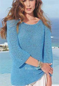 Пуловер реглан Размеры: 42/44 (46/48) Вам потребуется: 150 (200) г бирюзово-синей пряжи Spring (58% вискозы, 27% полиамида, 15% кашемира, 150 м/50 г) и 150 (200) г бирюзовой пряжи Divino(75% хлопка, 25% вискозы, 11…