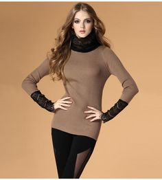 High collar slim hips sweater  $53.69