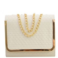 SheIn(sheinside) Embossed Faux Leather Metal Trim Flap Bag - White (165 ZAR) ❤ liked on Polyvore featuring bags, handbags, white, chain handbags, flap bag, handbag satchel, embossed handbags and chain bag