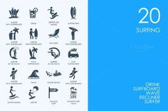 Surfing icons by Palau on @creativemarket
