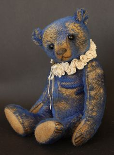 "Saturnin - 10"" distressed mohair, antique style teddy bear  by Victoria Allum of Humble Crumble Bears"