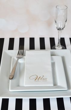 Disposable luxury linen like 1/8 Folded dinner napkins personalized with a monogram or design, the bride and groom's name and wedding date are an affordable alternative to expensive linen rentals to add the finishing touch to dinner table decor. Made of thick woven paper fibers, linen like napkins look and feel like real linen. No need to worry about collecting rental linens after your reception or costly replacement fees.