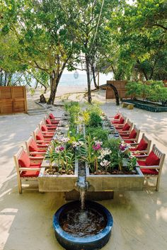 We head to The Kanuhura Maldives to see how modern hospitality, courtesy of MUZA Lab, is experienced at an island retreat. Outdoor Dining, Outdoor Tables, Outdoor Decor, Backyard Pavilion, Garden Styles, Garden Projects, Exterior Design, Garden Design, Outdoor Furniture Sets