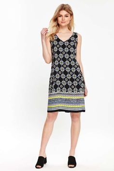 ffa1318a49 Petite Navy Tile Border Shift Dress