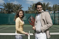 Tennis player Roger Federer and girlfriend Mirka Vavrinec in Dubai, photographed by Annie Leibovitz.
