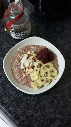 A satisfying bowl of porridge to fuel my running later ❤  I used jumbo oats (40g), soaked them in 1/2 cup of hot water for 10 minutes first, then added 1 sliced banana, 4 tbsp of unsweetened almond milk, another 1/2 cup of water, some frozen raspberries (optional) and a cinammon stick. Let it cook unstirred for about 8 minutes, then add 1/2-1 tbsp of organic coconut oil (I used Biona range bought from a Wholefoods store), and 1/2-1 tbsp of almond butter. Stir throughout for a few minutes…