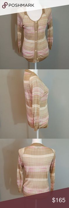 Missoni 100% Viscose Striped Cardigan Retails for over $900!!!! Super cute cardigan. Made in Italy. 100% viscose fabric. This cardigan is sheer. Beautiful piece. In great shape! Spare button still included. Missoni Sweaters Cardigans