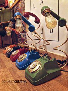 Lamp Phone Vintage Desk lamp Office furniture Modern Home Antique Light Bulbs, Antique Lighting, Diy Furniture, Modern Furniture, Office Furniture, Recycled Furniture, Lampe Art Deco, Lampe Retro, Deco Originale