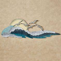 Seagull Waves Indoor Outdoor Coastal Wall Art Outdoor Metal Wall Art, Metal Wall Art Decor, Outdoor Art, Indoor Outdoor, Coastal Wall Art, Coastal Decor, Metal Butterfly Wall Art, Bird Art, Small Cafe Design