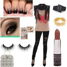 Edgy chic abounds in this outfit based on the gradient black, silver gold nail design for the Nailing It fashion mission Gold Nail Designs, Edgy Chic, Wishful Thinking, Winter Nails, Becca, Chic Outfits, Black Silver, Fashion Forward, Couture