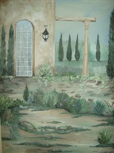 Mediterranean Style-Villa Hand painted and signed fabric art-Find me on Etsy!