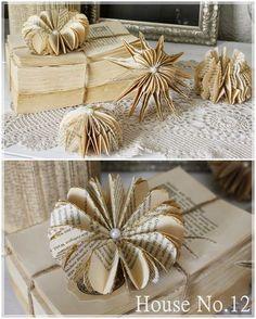 Hallo ihr Lieben, heute gibt es nochmals ein kleines DIY mit Buchseiten...dieses Mal wieder etwas anders... Die kleinen Papierkunstwerk... Old Book Crafts, Book Page Crafts, Newspaper Crafts, Book Folding, Paper Folding, Old Book Pages, Old Books, Origami Paper, Diy Paper