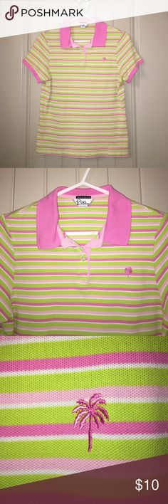 "LILLY PULITZER Pink stripe Shrunken Polo Top sz M This is a LILLY PULITZER Pink stripe Shrunken Polo Top sz M, 34"" bust, in used condition, does have a white spot as seen in pic, priced accordingly, i ship fast! Happy poshing friends! Lilly Pulitzer Tops"