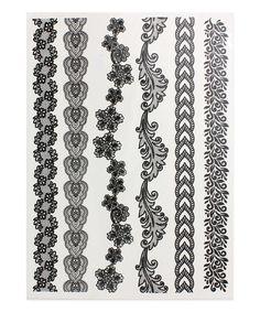 Black Thin Lace Bracelet Temporary Tattoo Set by ZAD #zulily #zulilyfinds